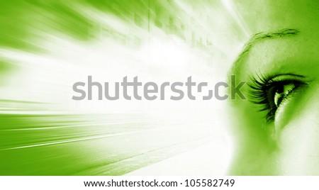 Women's eye - looking forward. Isolated on white. - stock photo