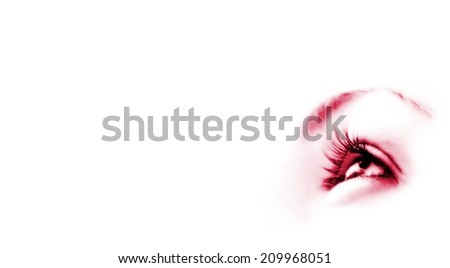 Women's eye - looking forward. Isolated on white. - stock photo