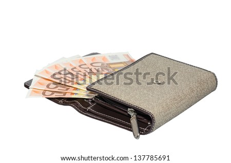 Women's fabric purse wallet with fan of cash fifty euro banknotes isolated on white - stock photo