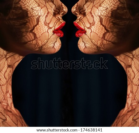 Women's Faces with Tracery Opposite each other. Reflexion. Fantasy. Art Bodyart - stock photo