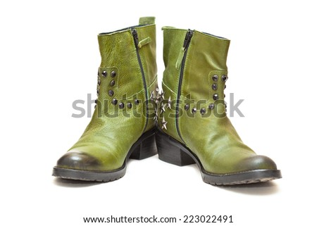 Women's fashion boots green in cowboy style. Autumn - spring leather shoes - stock photo