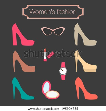 Women's fashion collection of high-heeled shoes - Rasterized vector illustration - stock photo