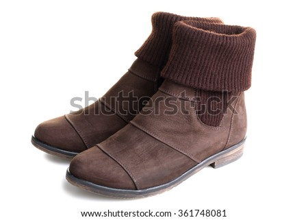 Women's fashion shoes brown isolated on white background.  Autumn - spring leather shoes