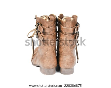 Women's Fashionable Lace-up Boots. Back view