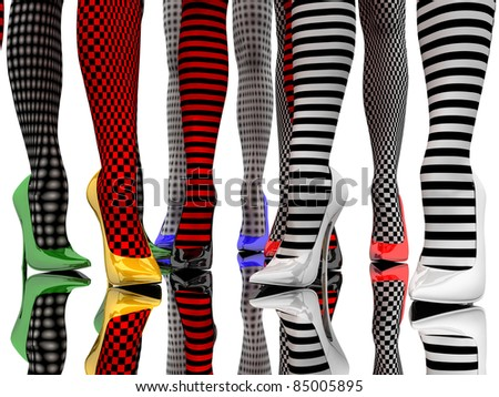 Women's feet in the colored stiletto and in colored stockings on the smooth floor - stock photo