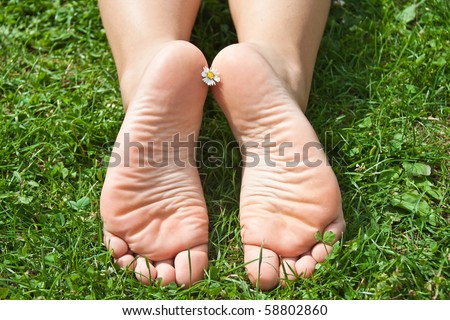 Women's feet in the grass. - stock photo