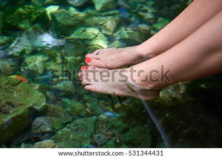 Beautiful Woman Hand On Clear Mountain Stock Photo ...