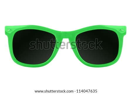 Women's green sunglasses - stock photo