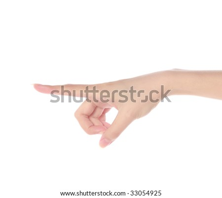 Women's hand on isolated a white background - stock photo