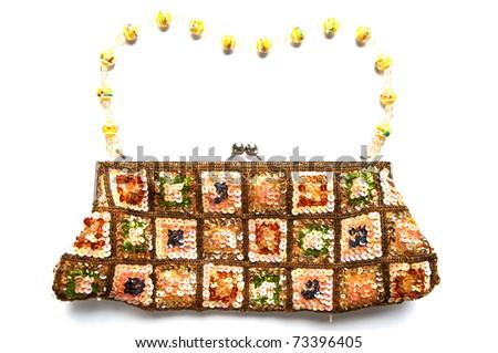 Women's Handbag sequin embroidery - stock photo