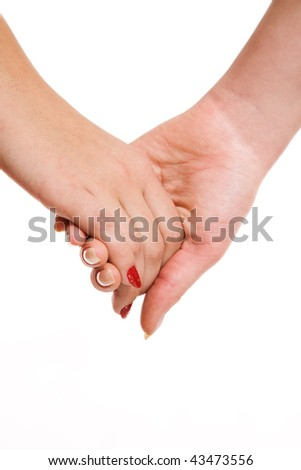 Women's hands sensual touch over white background - stock photo