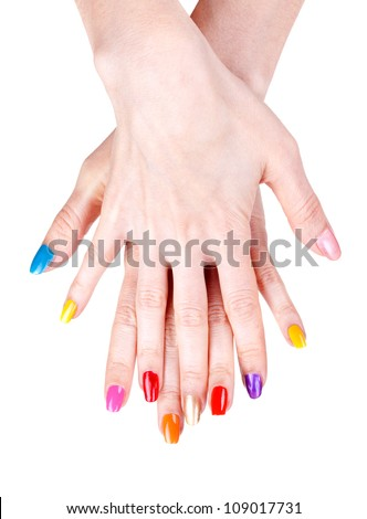 Women's hands with a colored nail polish (manicure). Isolate on white - stock photo