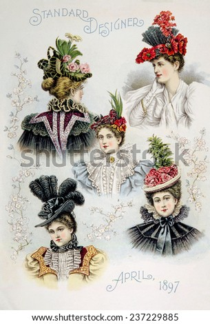 Women's hat designs for April, 1897. - stock photo