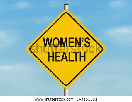 Women's health. Road sign on the sky background. Raster illustration.