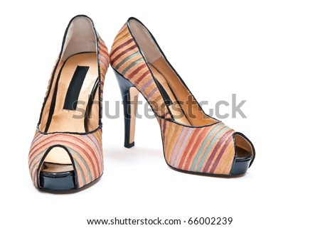 Women's high heels shoes isolated on white background - stock photo