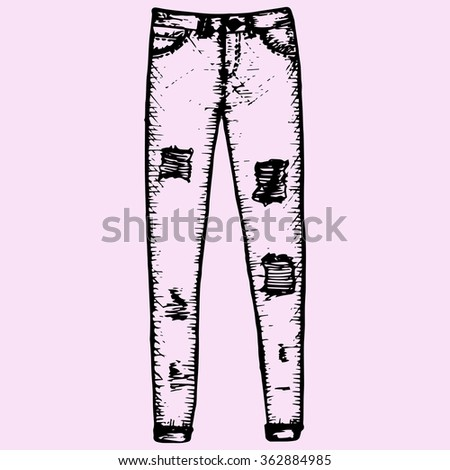 women's jeans, denim trousers, doodle style, sketch illustration, hand drawn, raster - stock photo