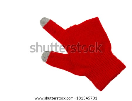 Women's knitted gloves  touching screen Isolated on white background