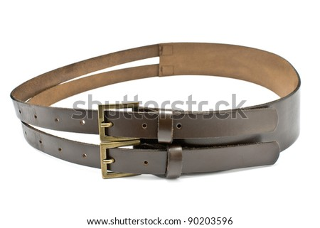 Women's leather belt isolated on white