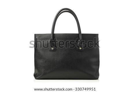 women's leather handbag, isolated on white - stock photo