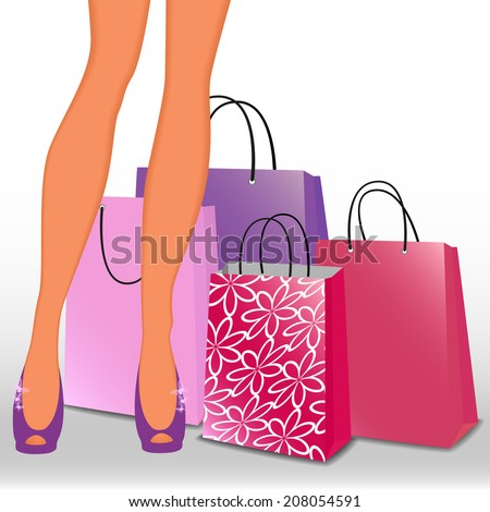 Women's legs and shopping bags. Raster version  - stock photo