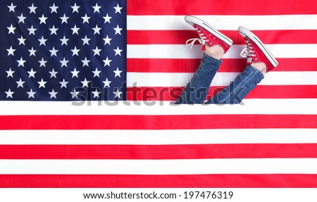 Women's legs and the American flag