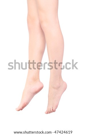 Women's legs on a white background (isolated)