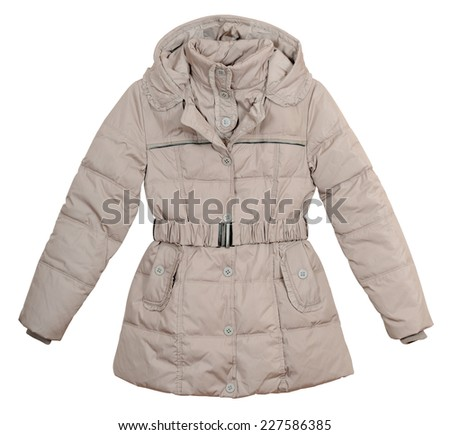 Women's lightweight down jacket on a white background - stock photo