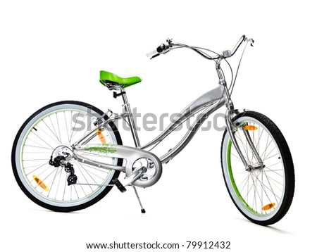Women's Mountain Bike isolated - stock photo