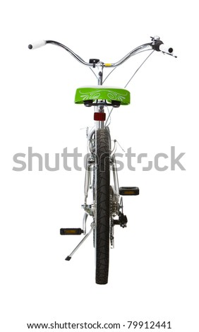 Women's Mountain Bike rear view isolated on white - stock photo