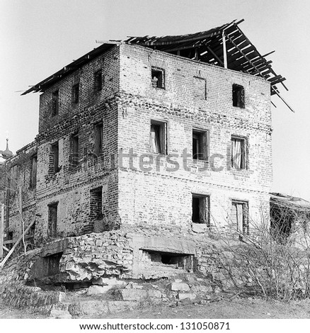Women's Orthodox Monastery of the Russian Orthodox Church (1380). Fortification World War II at the corner of the monastery. The USSR, Moscow Region, Stupino, circa 1989 (very grainy image) - stock photo