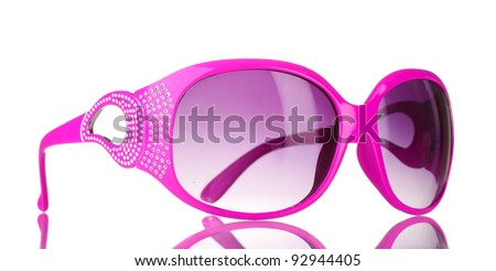 Women's pink sunglasses with diamonds isolated on white - stock photo