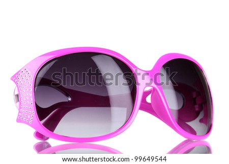 Women's pink sunglasses with diamonds isolated on white