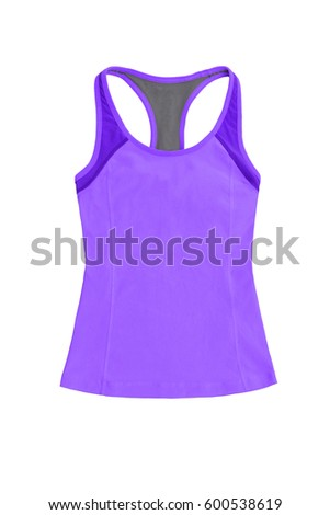 womenâ??s purple sports top, isolated on white background
