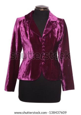 Women's purple velvet dress isolated on white background. - stock photo