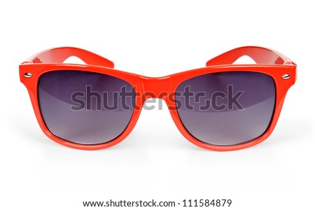 Women's red sunglasses isolated on white - stock photo