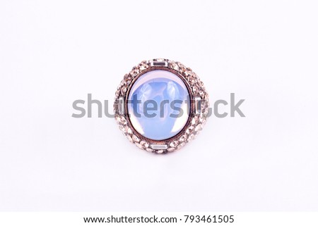 Women's ring with precious stones, gold, jewelry, accessories, bijouterie isolated on white background