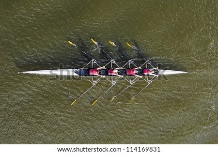 Women's rowing team, top view - stock photo