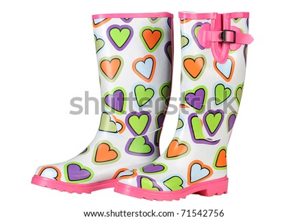 Women's rubber boots in the heart - stock photo