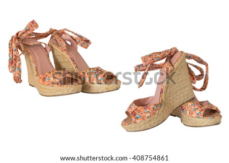 Women's sandals isolated on white background - stock photo