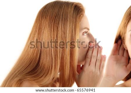 women's secret talk and listen isolated on white background - stock photo