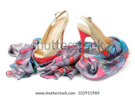 Women's shoes and accessories isolated on white background. - stock photo