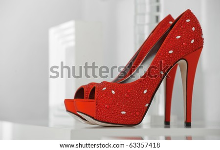 Women's shoes at the shop - stock photo