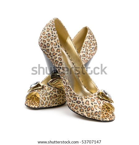 Women's shoes. Isolated on white background. - stock photo