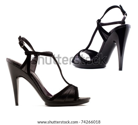 Women's shoes  on a white background. - stock photo