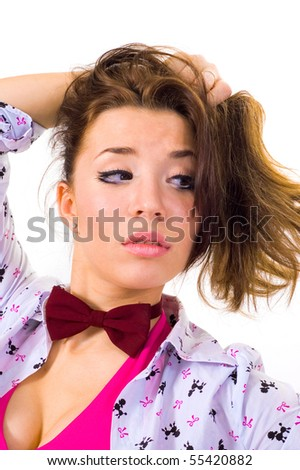 women's thoughts.curious woman on a white background.look. - stock photo