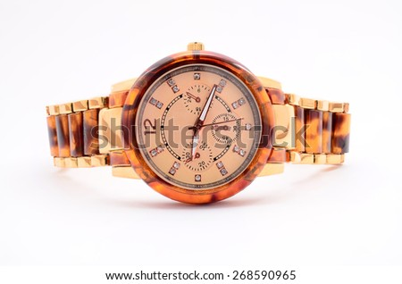 women's watches on a white background - stock photo