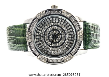 women's watches with gems - stock photo
