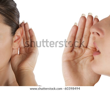 women said, woman listening to gossip isolated on the white background