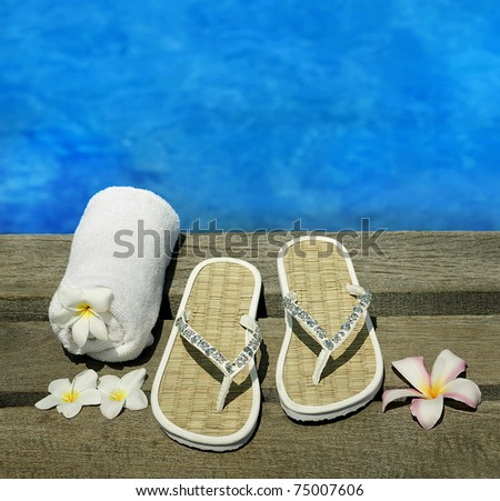 women sandals on a wooden floor with flowers near the water - stock photo