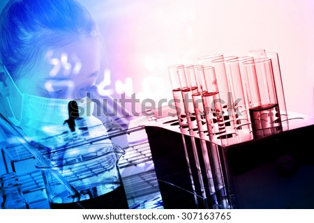 Women Scientist is using microscope in analytically laboratories ;Double exposure style - stock photo